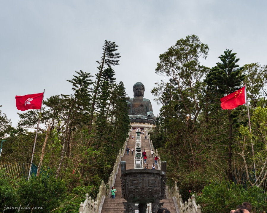 Flags in front of the Big Buddha