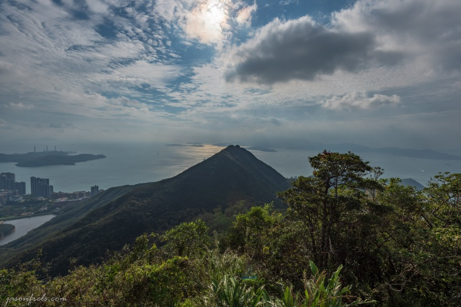 HDR merge of view from Victoria Peak Garden in Hong Kong