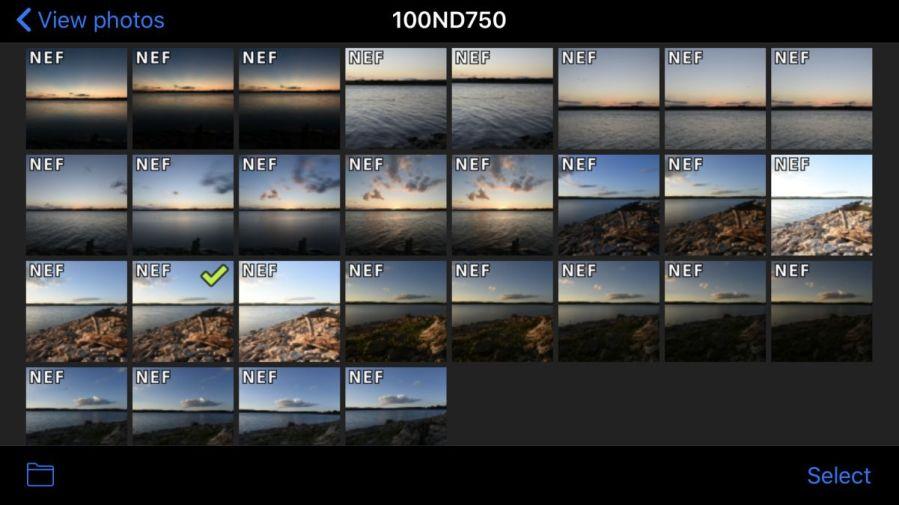 Screen capture of Nikon WMU app on iPhone