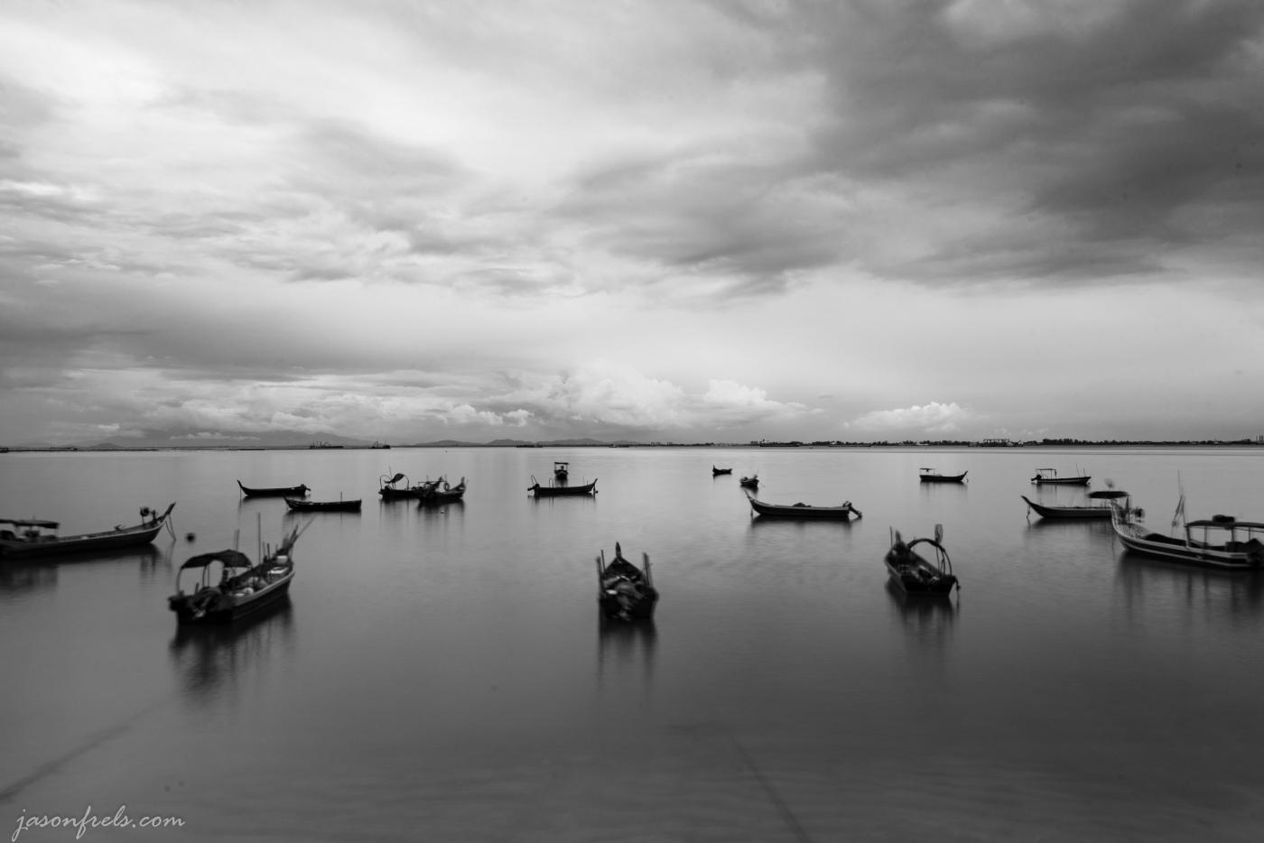 Boats along the shore in Penang Malaysia