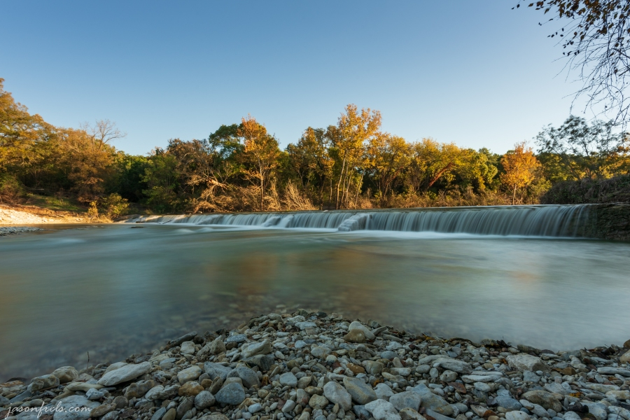 Waterfall at a dam near Liberty Hill Texas