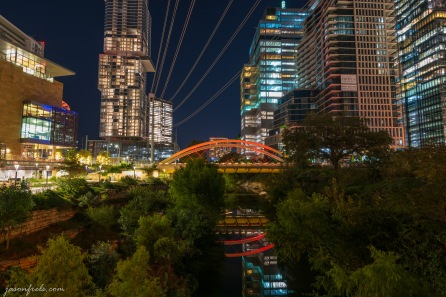 Austin Central Library and Bridge lit at night in HDR