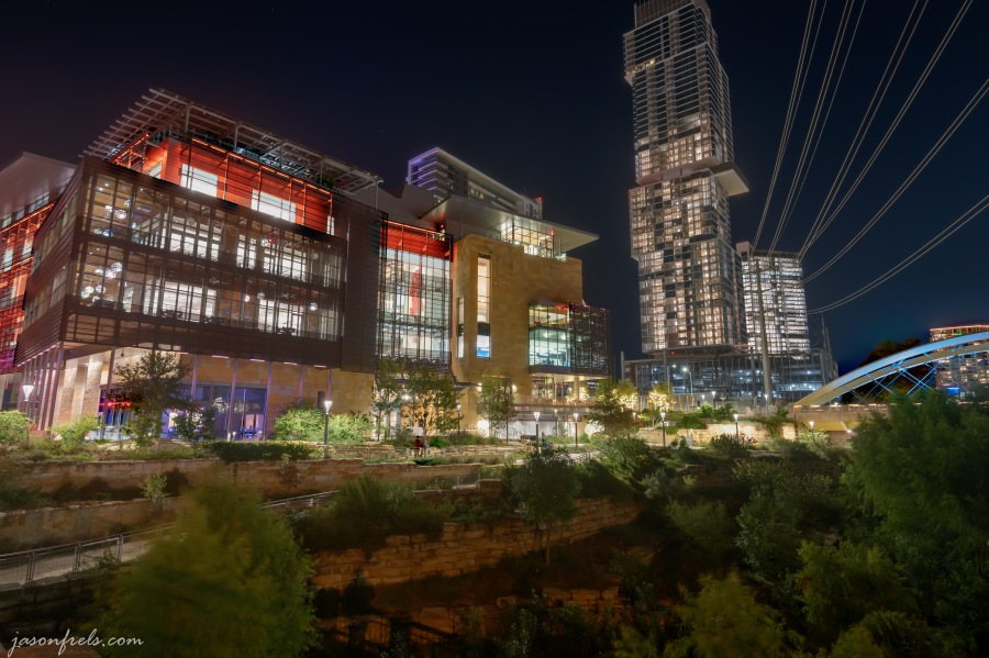 Austin Central Library at night