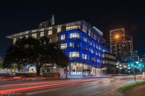 Austin Central Library in Austin Texas at night in blue