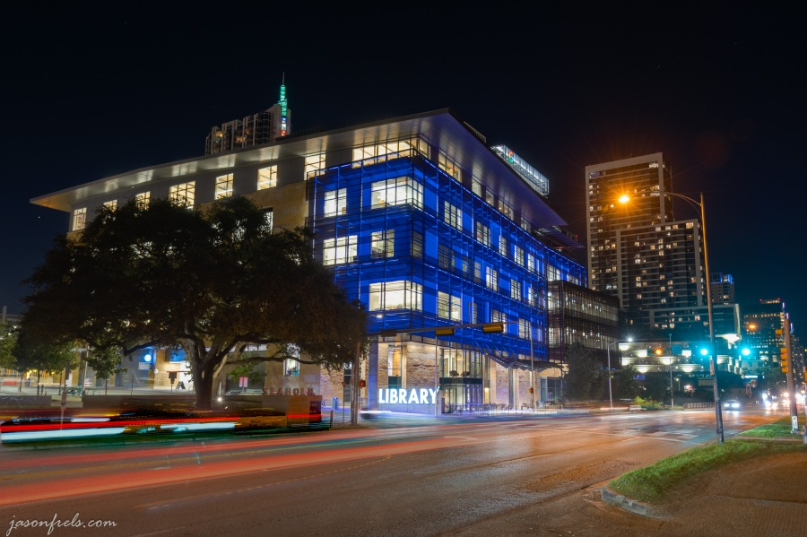 Austin Central Library in Austin Texas at night in HDR