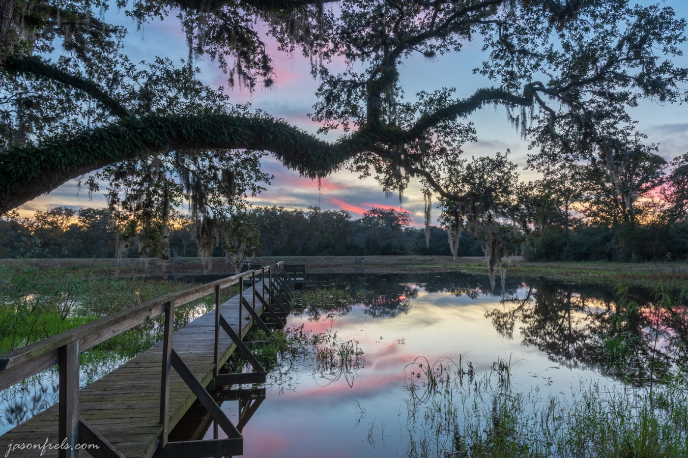 HDR merge of blue hour over pond