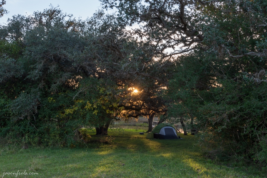 Tent camping at ranch near Edna Texas