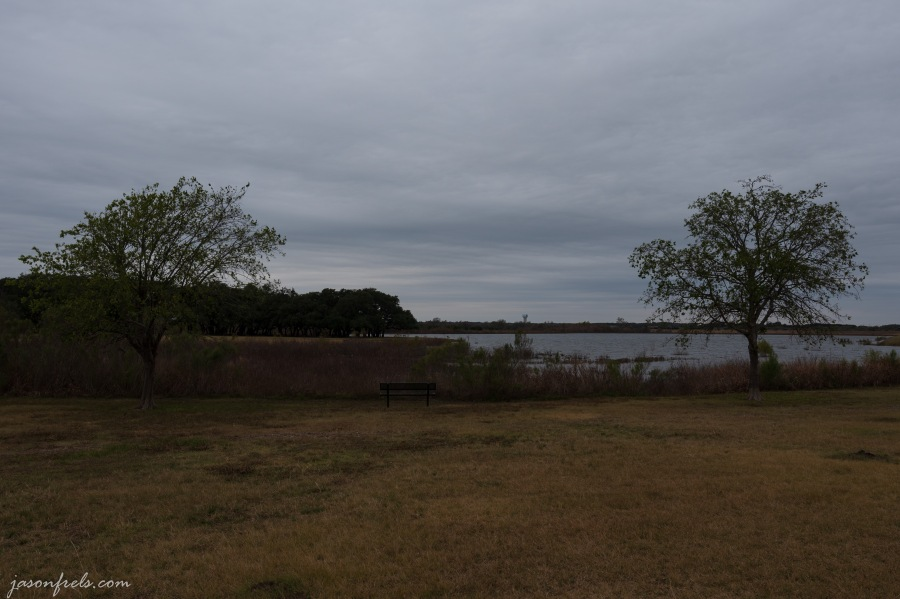 Devine Lake Park in Leander Texas on a gray day