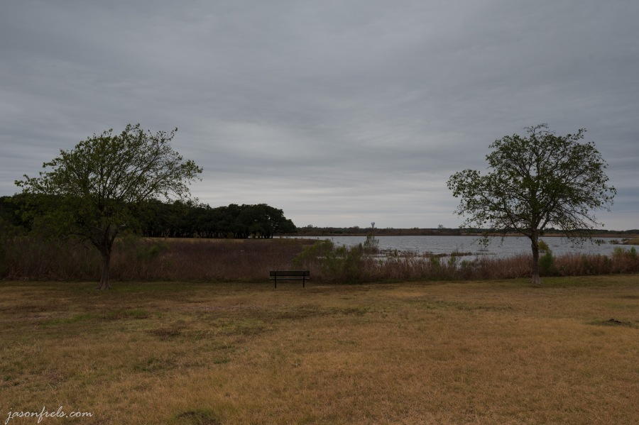 Devine Lake Park in Leander Texas on a gray day with grad filter
