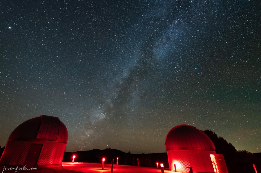 Milky Way over telescopes at the University of Texas McDonald Observatory