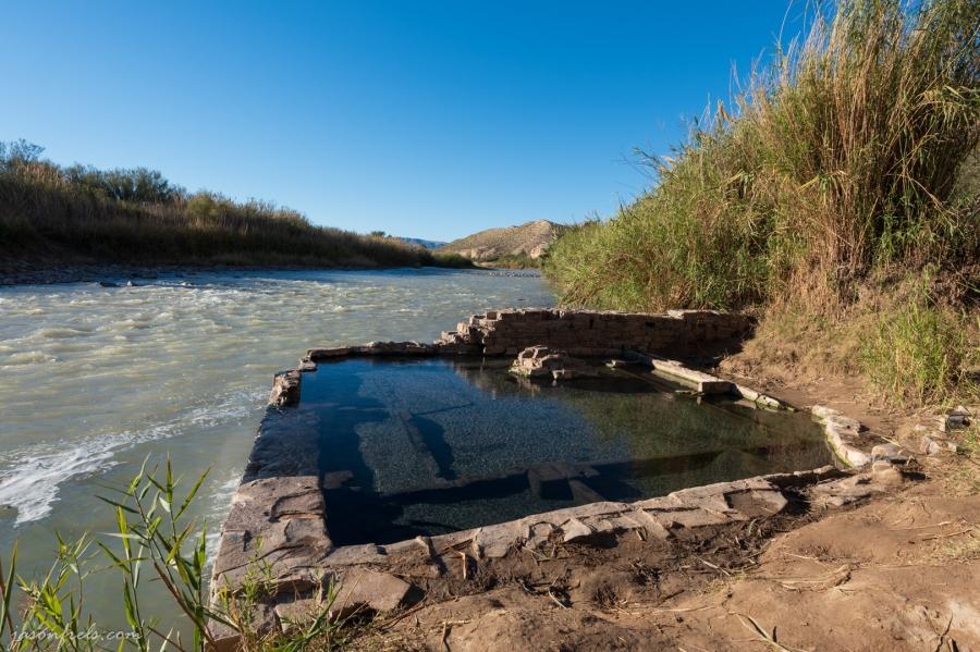 Hot spring on Rio Grande river at Big Bend National Park