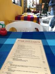 Menu of Jose Falcon's in Boquillas del Carmen Mexico
