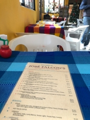 Menu of Jose Falcon's in Boquillas del Carmen Mexico