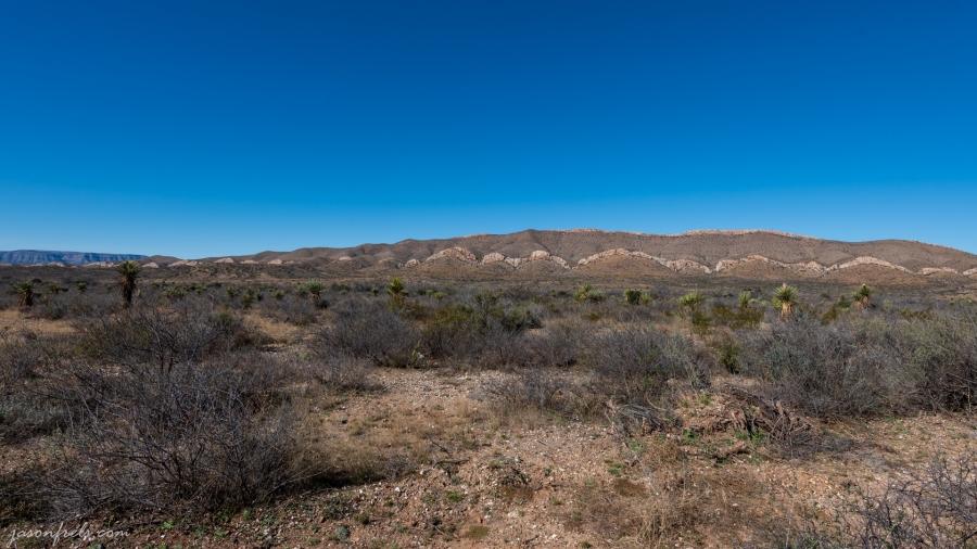 Wavy cliffs in West Texas desert