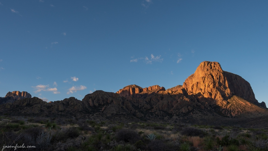 First light on peaks at Big Bend National Park