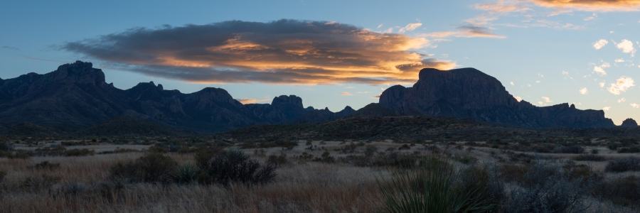 Sunset clouds over mountains at Big Bend National Park Texas