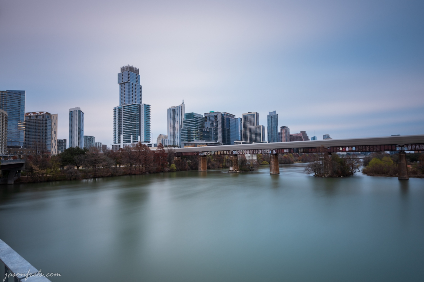 Long exposure of downtown Austin Texas on cloudy morning