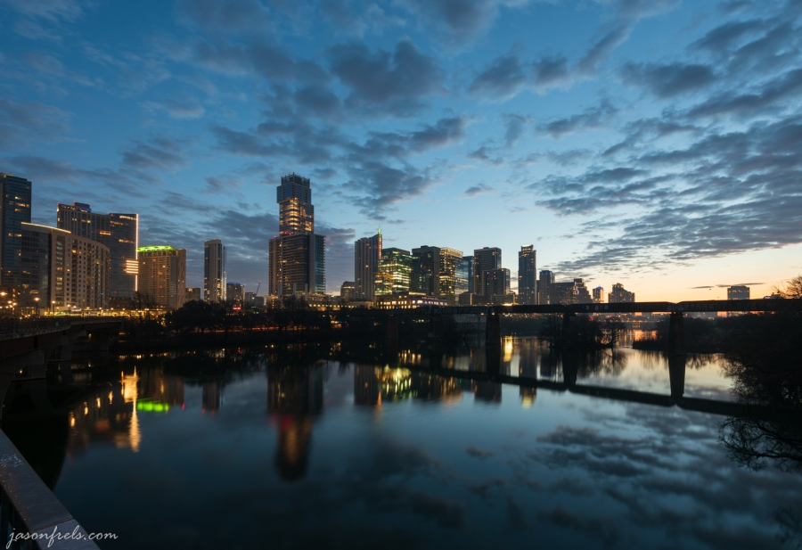 Downtown Austin Texas and Lady Bird Lake at dawn