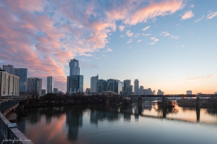 Downtown Austin Texas and Lady Bird Lake at dawn