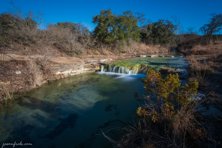 Long exposure of the waterfall in the creek at Balcones Canyonlands National Wildlife Refuge