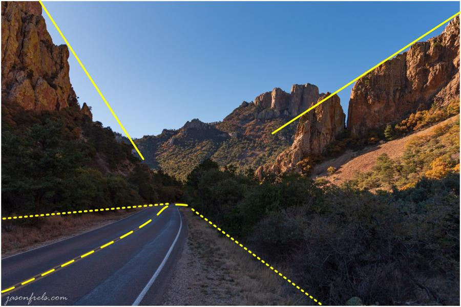 big-bend-chisos-basin-road-with-lines