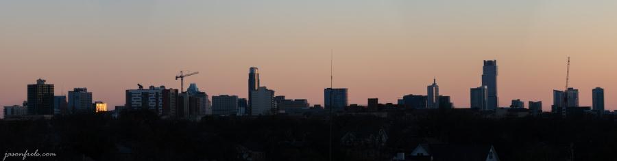 Panorama Merge of Downtown Austin Texas Skyline at Sunset