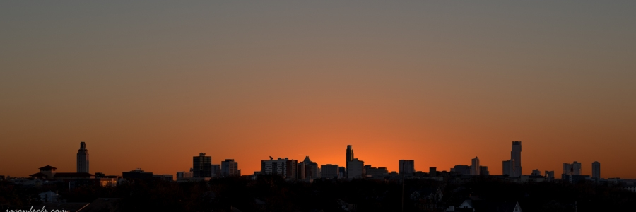 Silhouette of downtown Austin Texas against sunset
