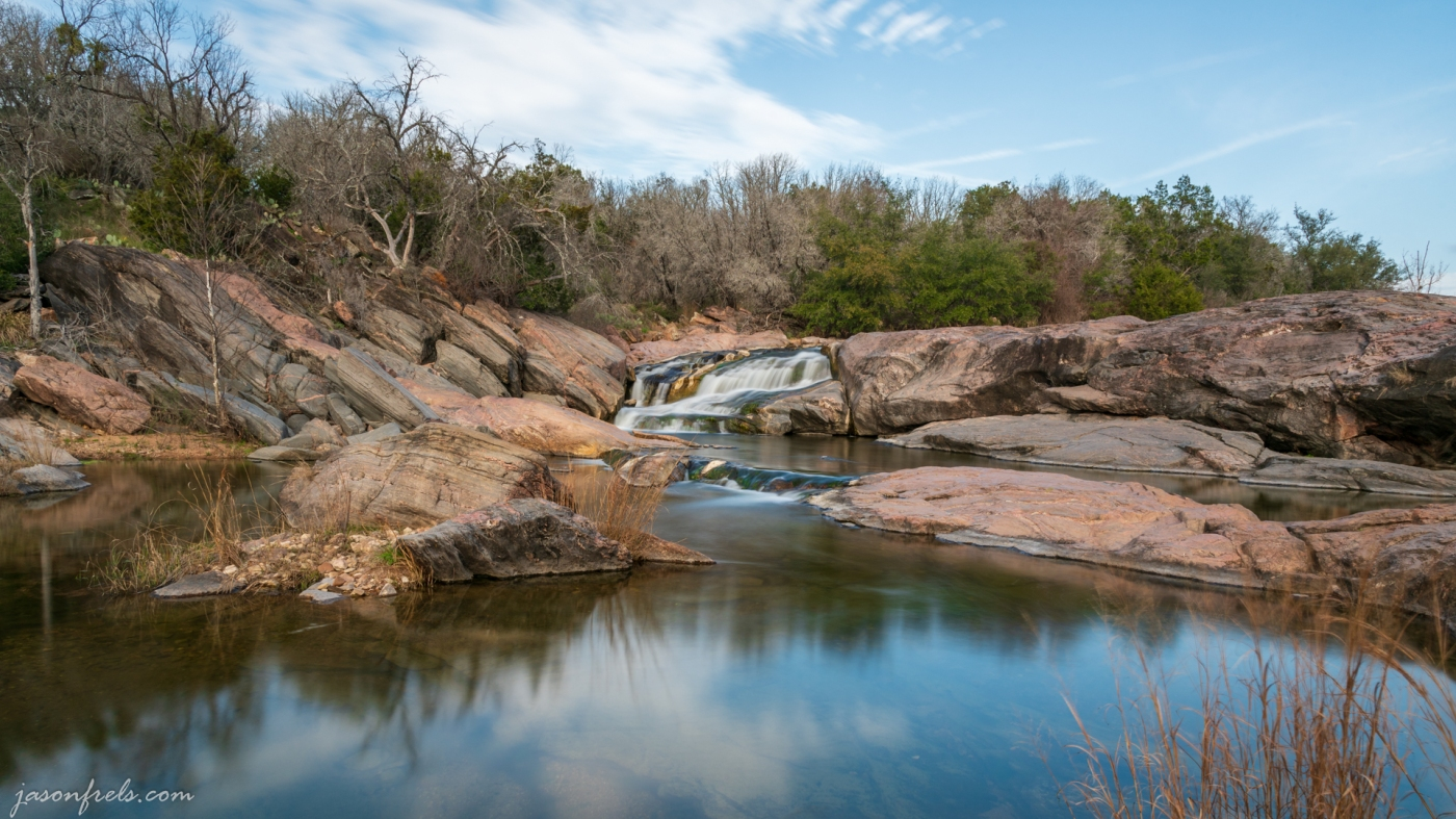 Close up of Waterfall at Inks Lake State Park Texas
