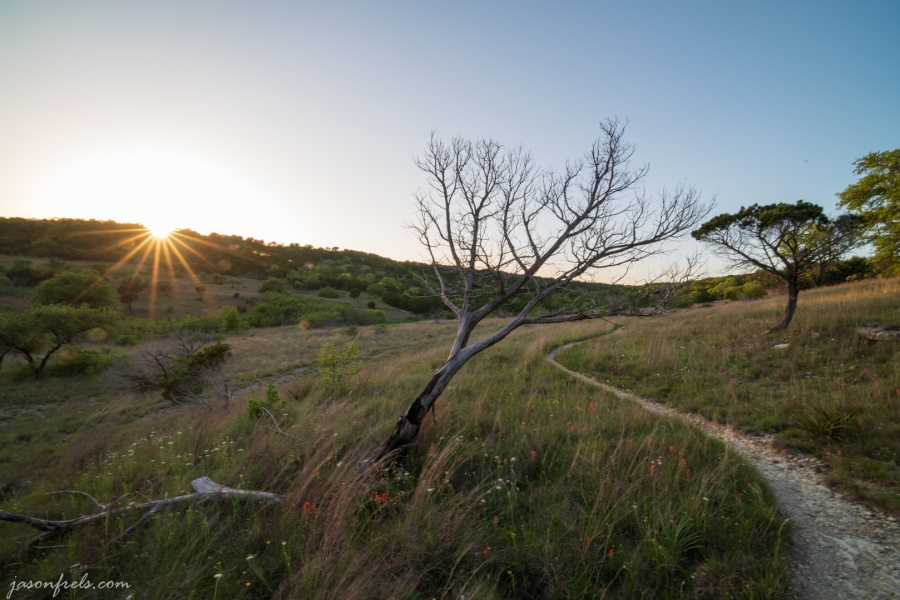 Setting sun at Balcones Canyonlands National Wildlife Refuge