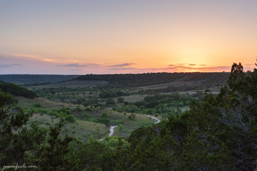 Sunset from the hiking trails at Balcones Canyonlands National Wildlife Refuge
