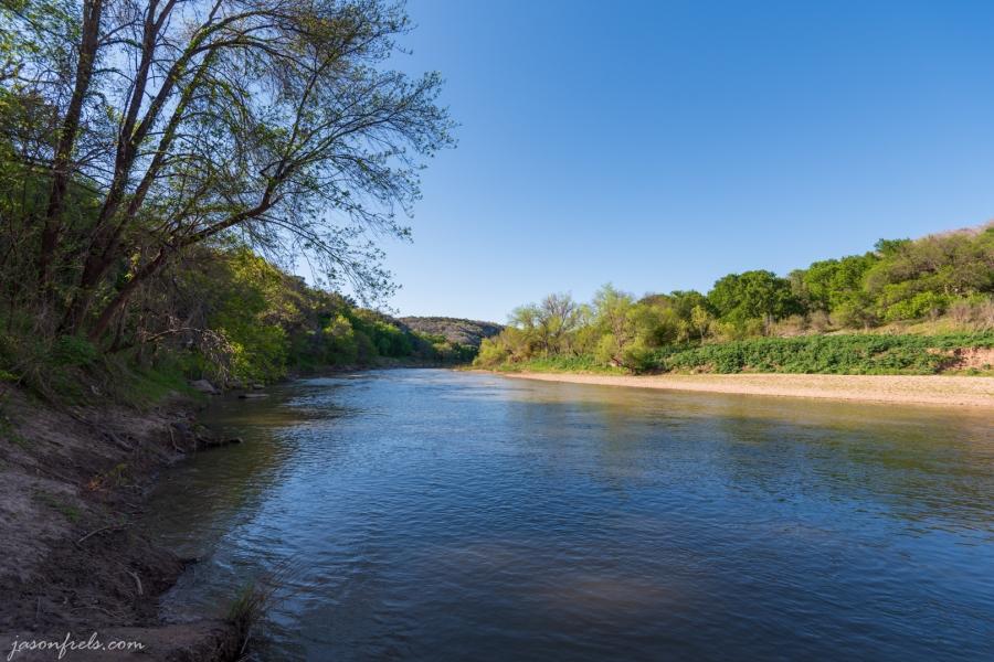 The Colorado River at Colorado Bend State Park Texas