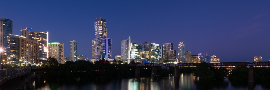 Austin Skyline During Evening Twilight
