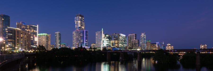 Austin Skyline During Evening Twilight
