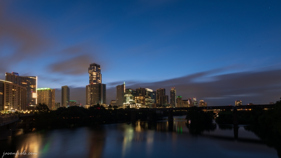 Long Exposure of Austin Skyline During Predawn Twilight