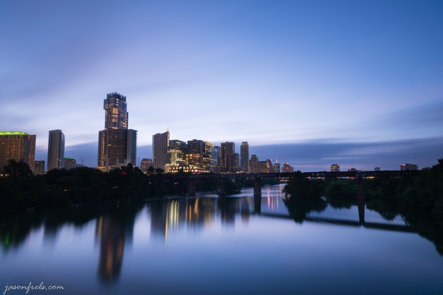 Long Exposure of Austin Skyline at Dawn