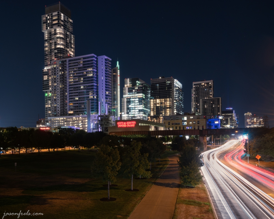 Car Light Trails and the City of Austin Power Plant.