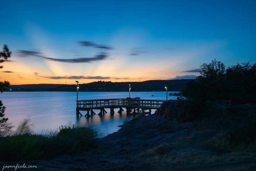 Inks Lake Fishing Pier at Sunset