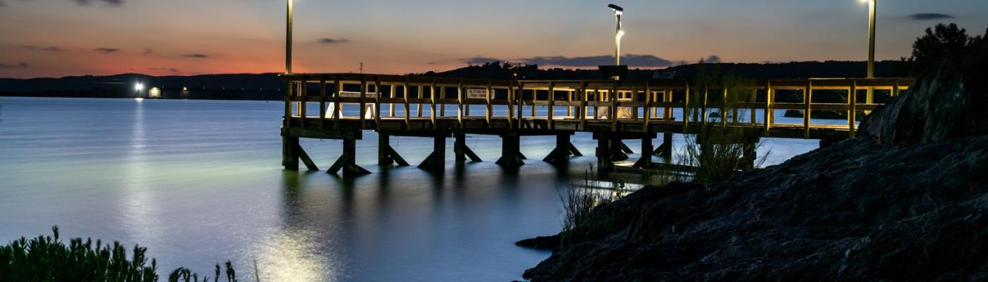 Fishing Pier at Inks Lake During Twilight