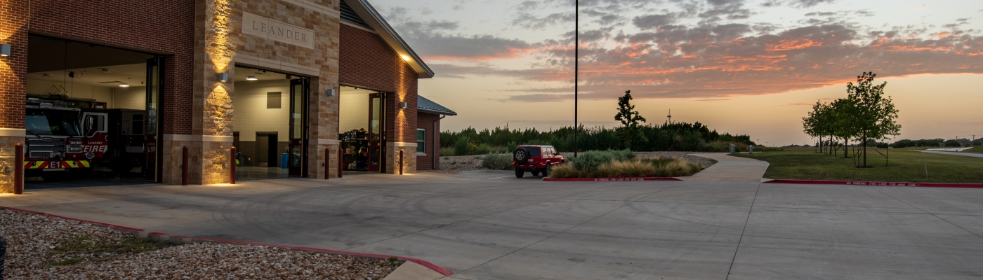 Leander Firehouse at Sunset