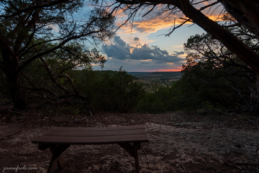 A Bench at an Overlook at Balcones Canyonlands