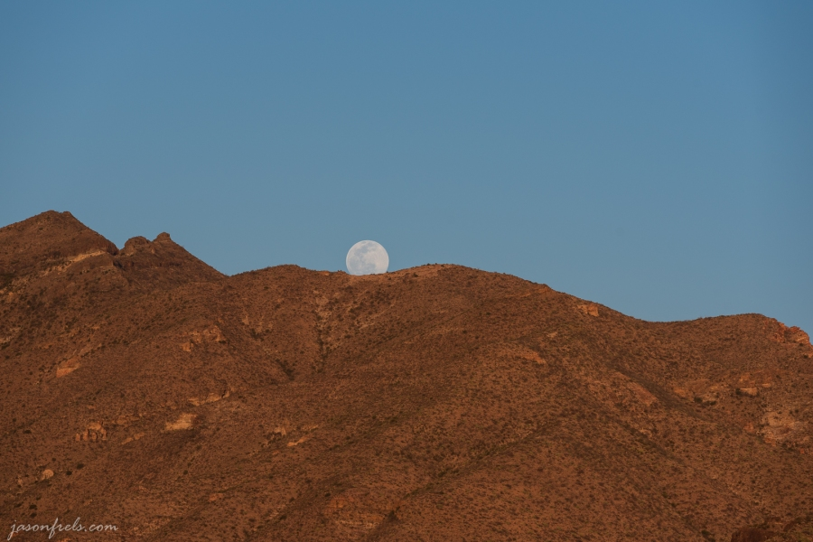 Moon Rising Over Mountains at Big Bend